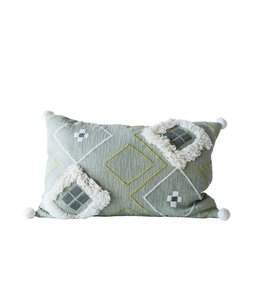 Creative Co-Op Fringe & Pom Pom Pillow Green