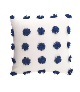 Mud Pie Navy Pom-Pom Pillow 20""