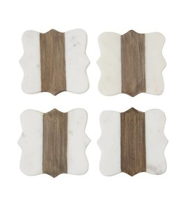 Mud Pie Quatrefoil Marble & Wood Coasters