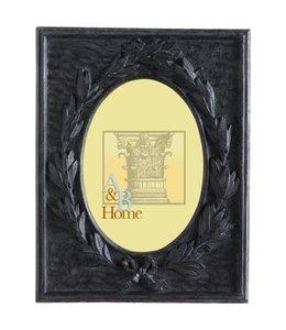A & B Home Black Leaf Photo Frame