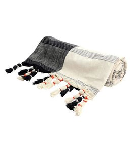 Floor 9 Black And Cream Woven Throw With Tassels