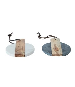 Creative Co-Op Marble & Wood Serving Tray