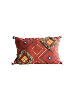 Creative Co-Op Fringe & Pom Pom Pillow Rust