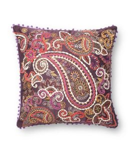 Purple & Beige with Paisley 22in  Pillow