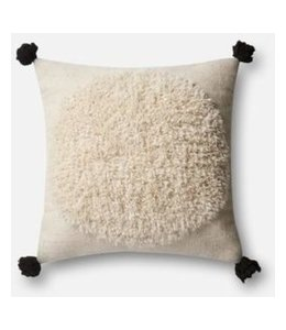 Ivory Pillow with Black Tassles 22""