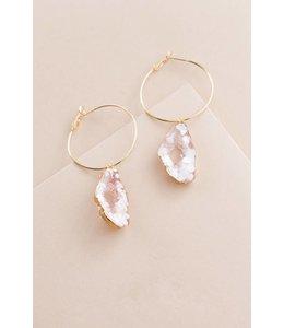 Lovoda Coast Bound Druzy Hoop Earrings Pink