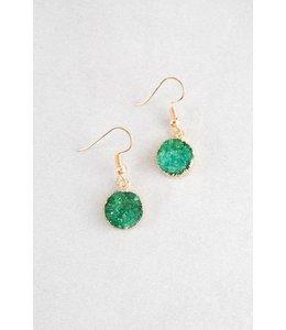 Lovoda Round Hook Druzy Earrings Jade