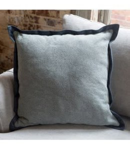 Blue Wash Cotton Pillow with Velvet Flange