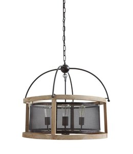 Creative Co-Op Wood and Metal Chandelier with 3 Lights 25""
