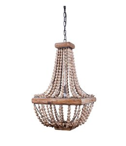 Creative Co-Op Metal Chandelier with Wood Beads