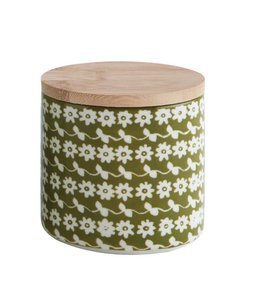 Creative Co-Op Stoneware Flower Canister w/ Lid