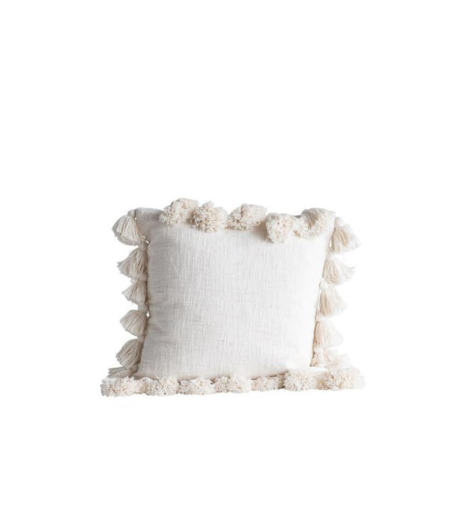 """Creative Co-Op 18"""" Cream Cotton Pillow with Tassels"""