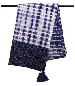 Tie Dye Kantha Throw with Tassel 56x86