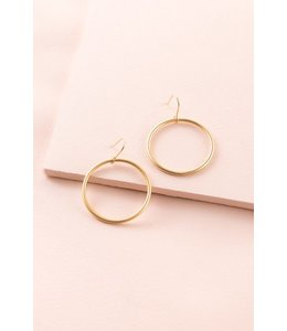 Lovoda Gold Circle Hook Earrings