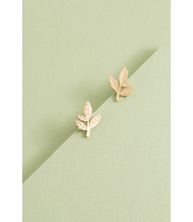 Lovoda Leaf Charm Earrings (14K)