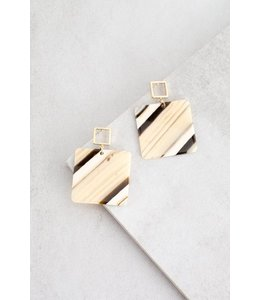 Lovoda Safari Square Drop Earrings Tan