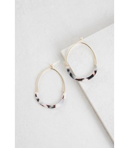 Lovoda Vera Tortoise Shell Hoop Earrings - Pale