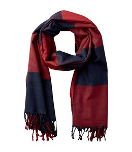 Red & Navy Carter Wool Plaid Scarf