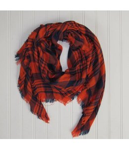 Soft Square Plaid Scarf Navy/Orange