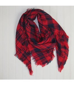 Soft Square Plaid Scarf Navy/Red