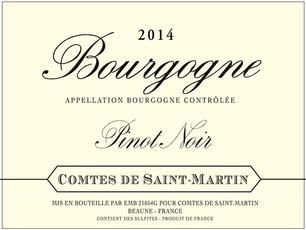 Wine Comtes de Saint Martin Bourgogne Pinot Noir 2014