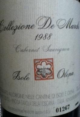 Wine COLLEZIONE DE MARCHI CABERNET SAUVIGNON ISOLE OLENA 1988