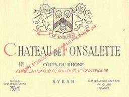 Wine Rayas Chateau de Fonsalette Cotes du Rhone Syrah 1986