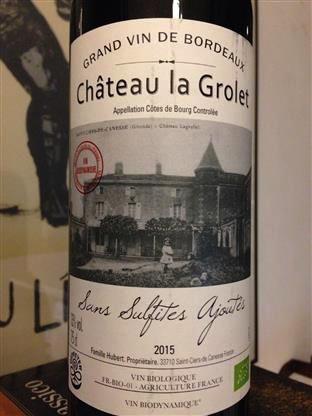 Wine Chateau La Grolet Cotes de Bourg Sans Sulfites Ajoutes 2015