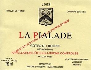 Wine Chateau Rayas La Pialade Cotes du Rhone Rouge 2011