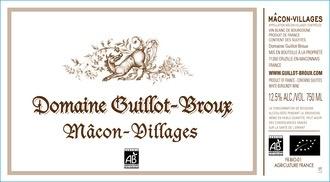 Wine Domaine Guillot Broux Macon Villages Blanc 2014