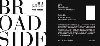 Wine Broadside Cabernet Sauvignon Paso Robles 2014