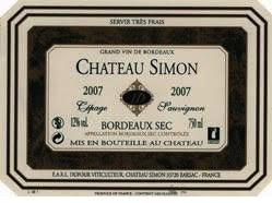 Wine Chateau Simon Bordeaux Blanc Sec 2015