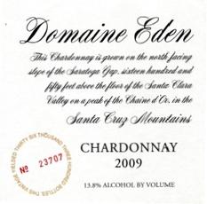Wine Domaine Eden Chardonnay Santa Cruz Mountains 2013