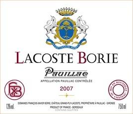 Wine Lacoste Borie Pauillac 2009