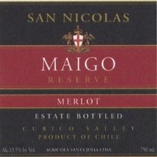 Wine Bodega San Nicolas Merlot Maigo Reserve Estate Bottled 2012