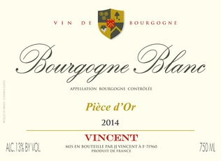Wine J J Vincent Bourgogne Blanc Piece d'Or 2014