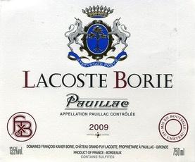 Wine Lacoste-Borie, Pauillac 2009