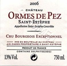 Wine Château Les Ormes de Pez, Saint-Estèphe Cru Bourgeois 2011