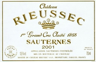 Wine Château Rieussec, Sauternes 1er Cru Classé  2001