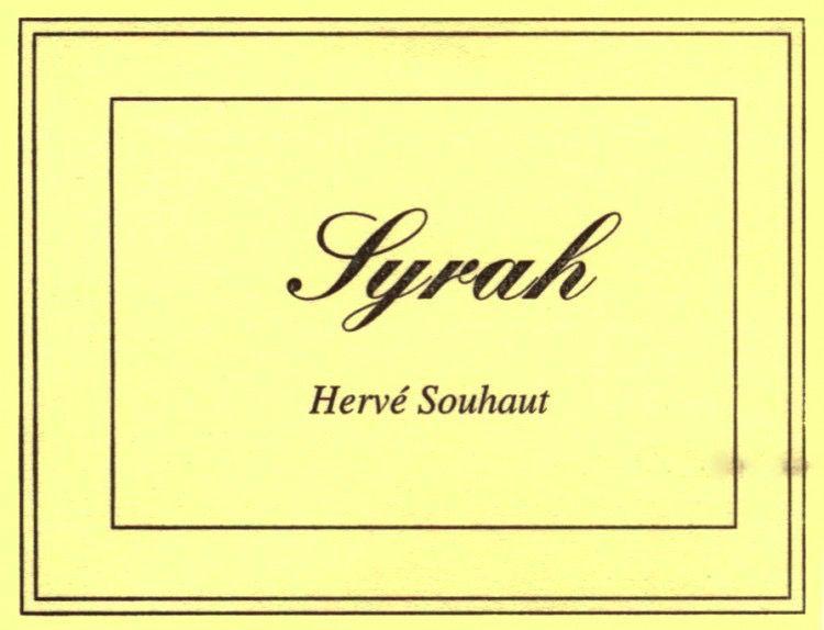 Wine Herve Souhaut Syrah 2016