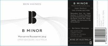 Wine Ben Haines 'B Minor' Roussane Marsanne 2016