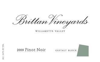 Wine Brittan Vineyards Willamette Valley Pinot Noir Gestalt Block McMinnville 2014