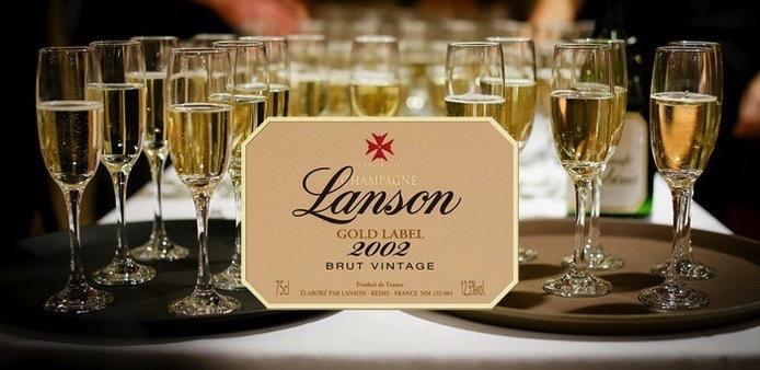 Sparkling Lanson Gold Label Champagne Gift Box Vintage  2002