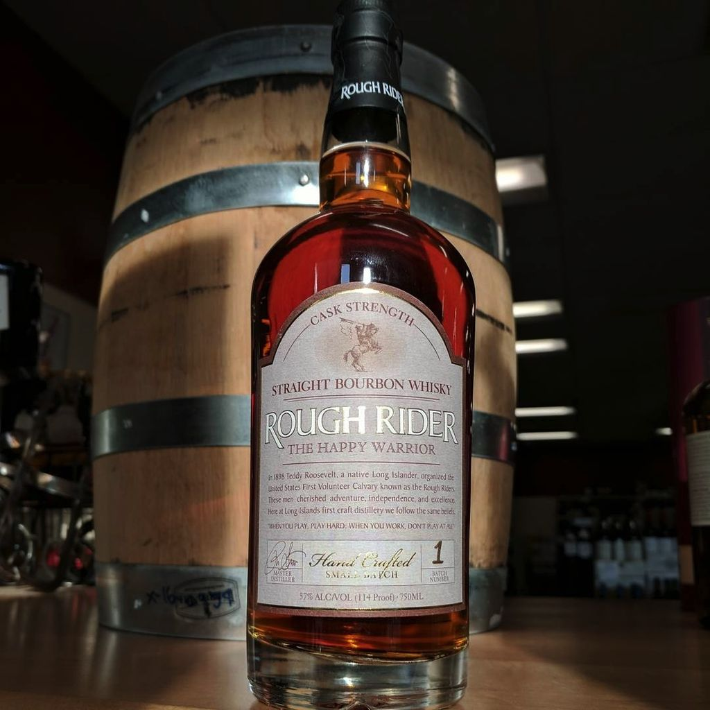 Spirits Rough Rider NY Bourbon Cask Strength The Happy Warrior 114 Proof