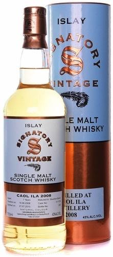 Spirits Signatory Caol Ila Single Malt Scotch Whisky 2008 7 Years Islay 86 Proof Bourbon Barrel