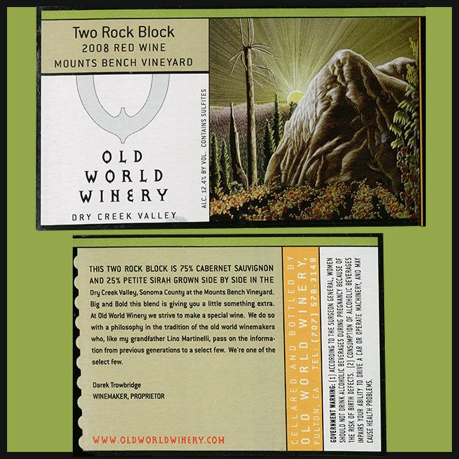 Wine Old World Winery Cabernet Sauvignon 'Two Rock Block Mounts Bench Vineyard' 2008