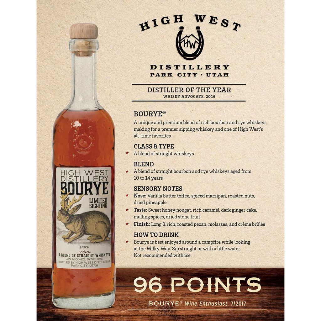 Spirits HIgh West Distillery Bourye