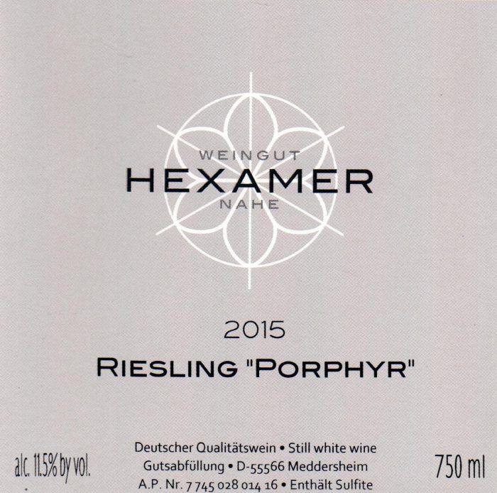 Wine Hexamer, Riesling Feinherb 'Porphyr' 2015