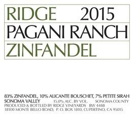Wine Ridge Vineyards Zinfandel Pagani Ranch Sonoma Valley 2015