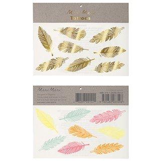 Meri Meri Gold & Neon Feather Tattoos